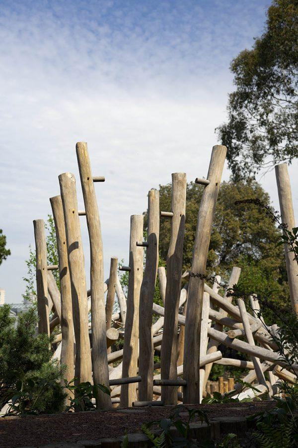 natural playground equipment climbing stilts