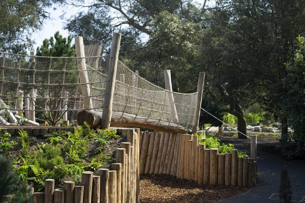 natural playground equipment log net bridge
