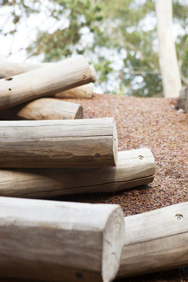 natural playground equipment log scramble