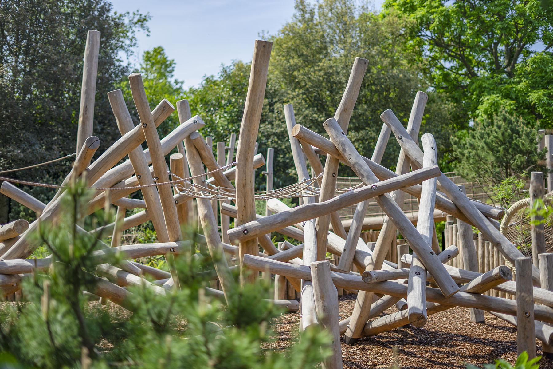 natural playground equipment log climbing frames photo