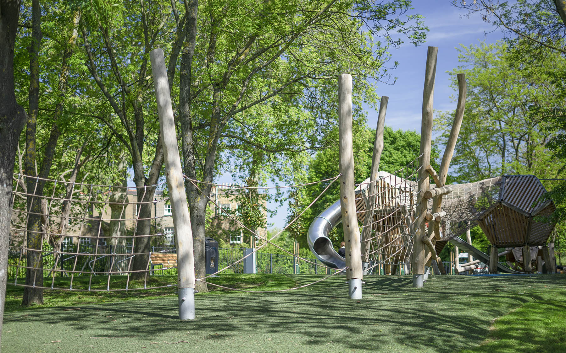 natural playground equipment robinia climbing nets