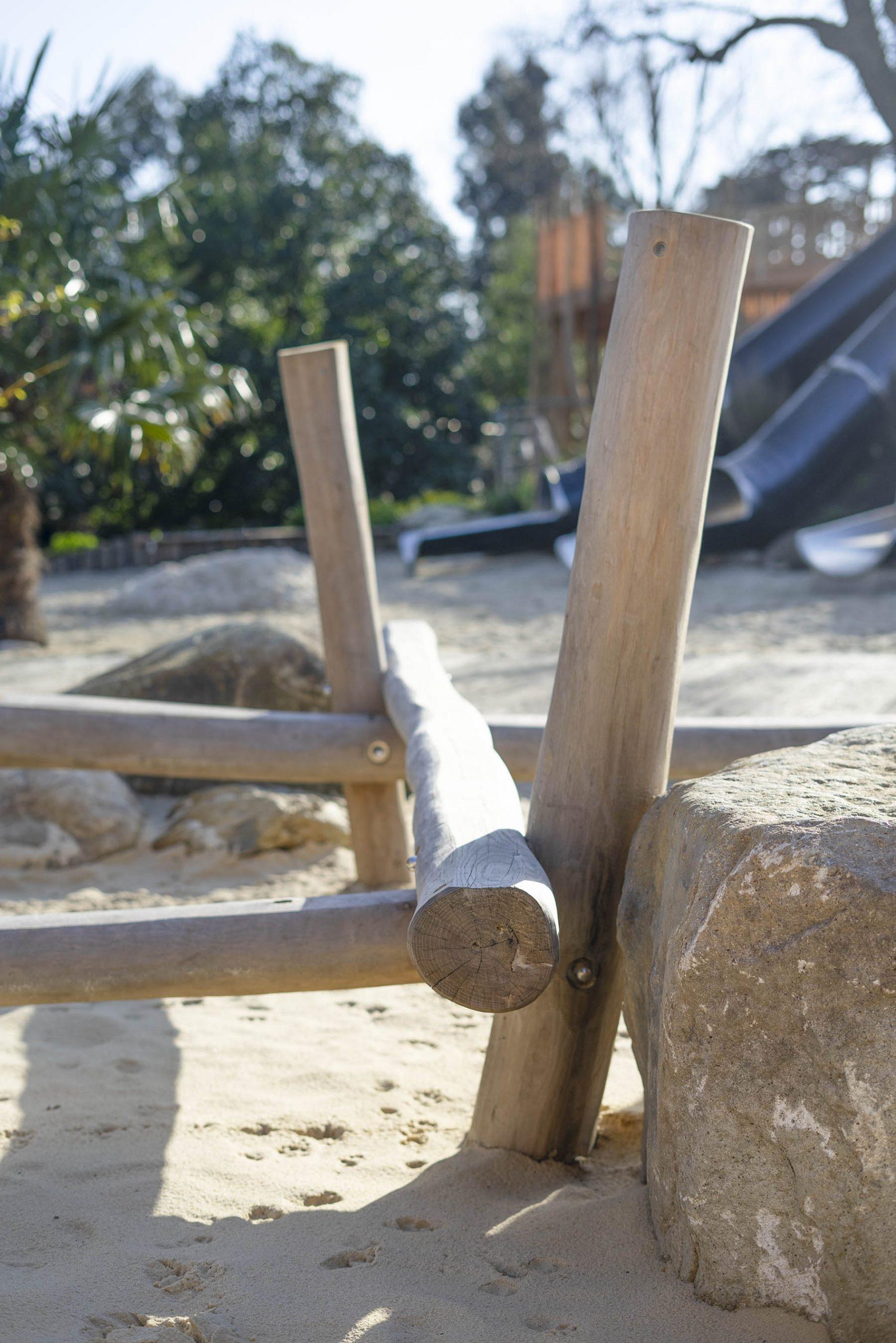 natural playgrounds stilted balance beam