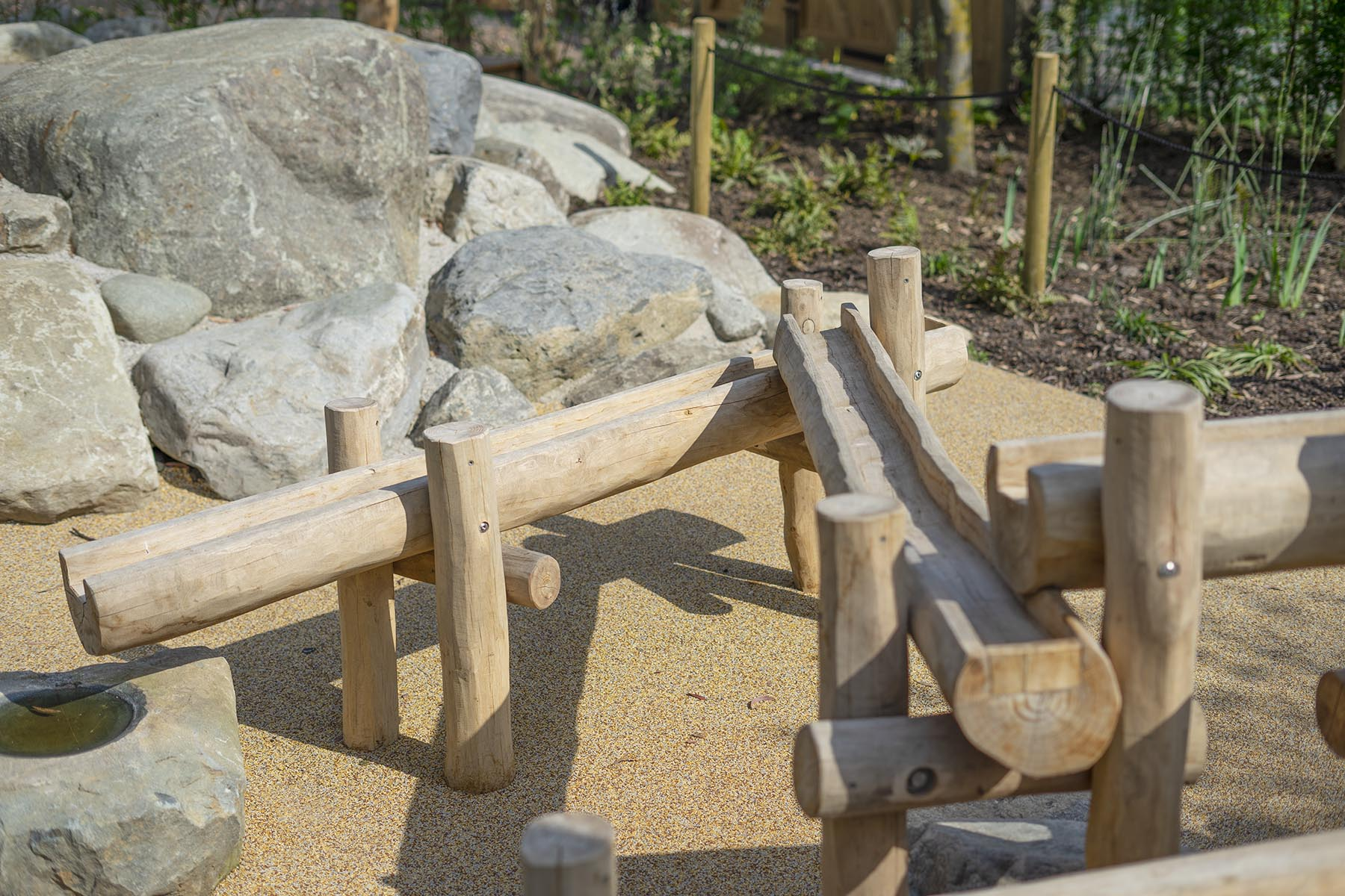 sand and water play equipment log trough