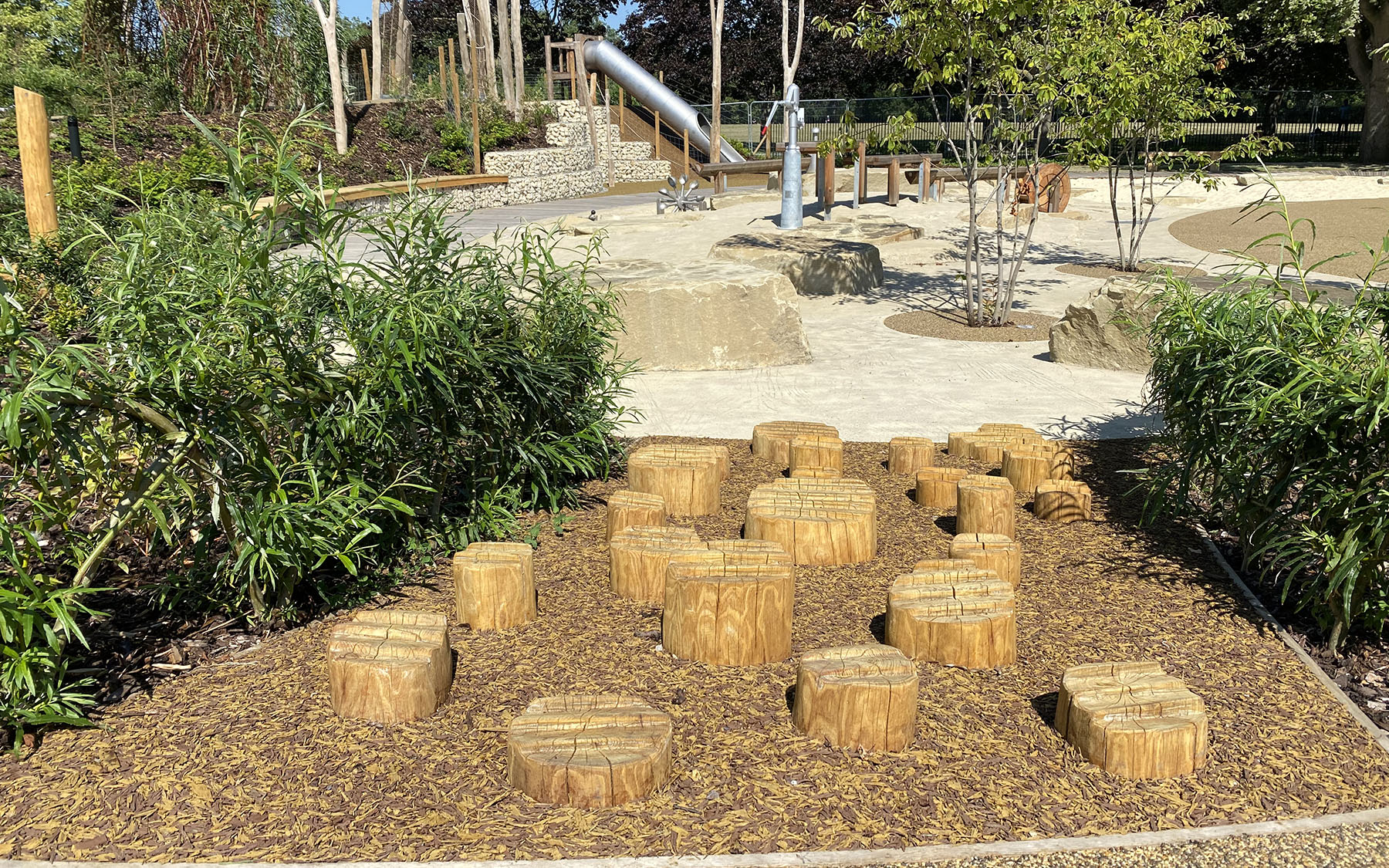 natural playgrounds stepping stumps
